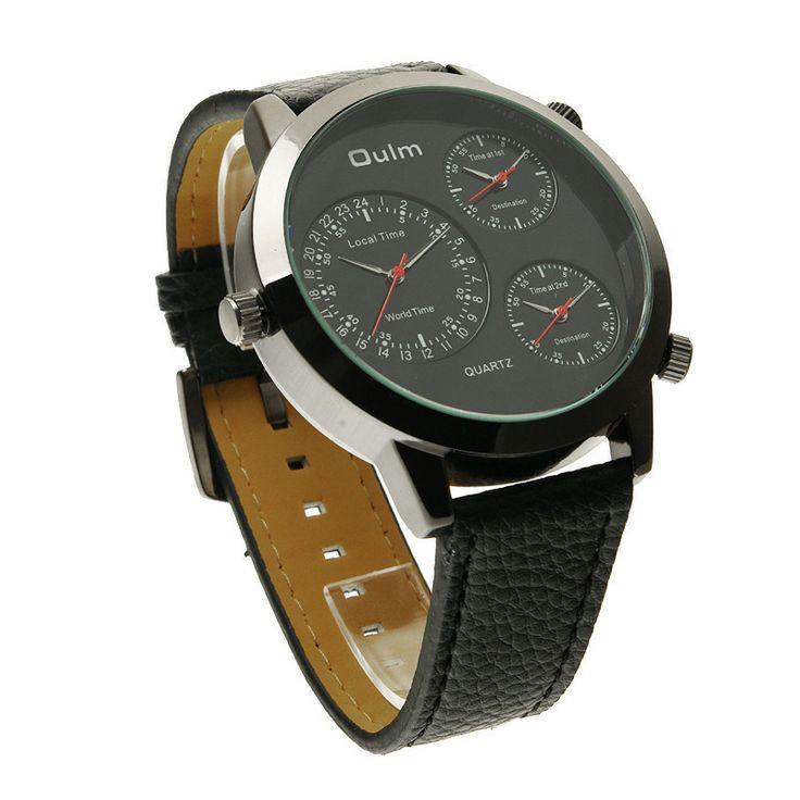 Mens Three Time Zone Analog Sport Black Leather Quartz Watch