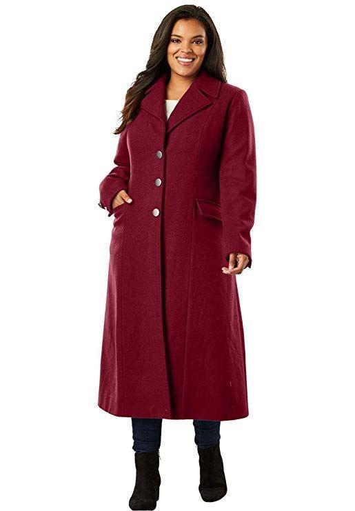 d7a2c93733e Roamans Women s Plus Size Long Wool Coat - Dark Cherry