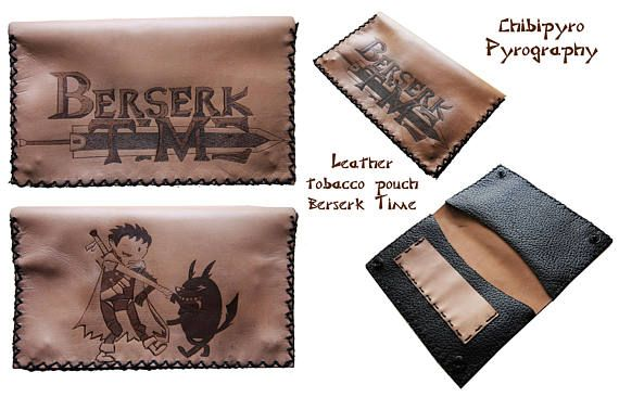 Handmade leather tobacco pouch Berserk Time    #tobacco #pouch #laser #artisan #craft #handmade #etsy #chibipyro #berserk #time #pyrography