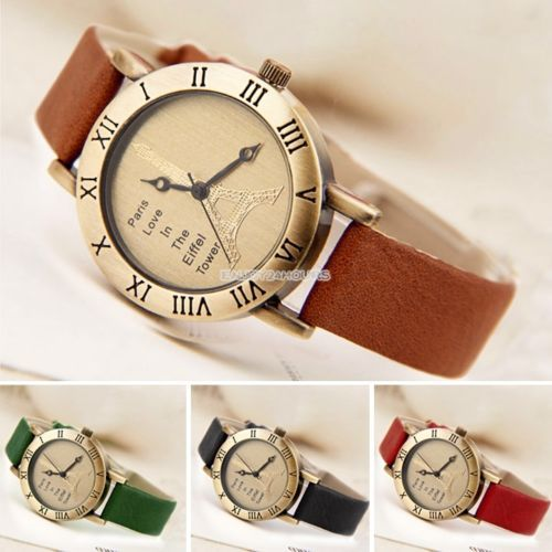 Retro-Women-Globe-World-Map-Eiffel-Tower-Analog-Quartz-Leather-Band-Wrist-Watch