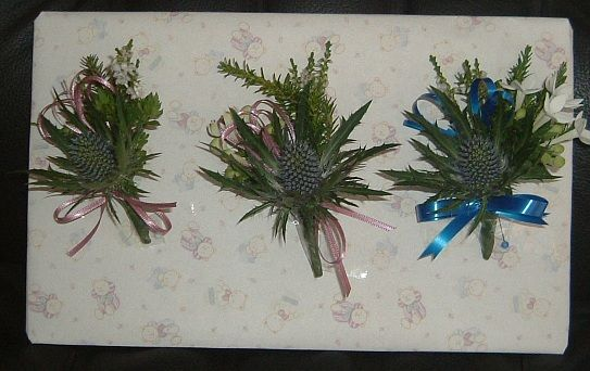 White Heather and Thistle buttonholes