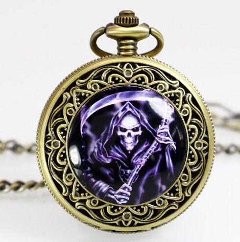 PB175 New Dark Power Pattern King Leoric Antique pocket watch Necklace Pendant  quartz steampunk relogio de bolso reloj mujer