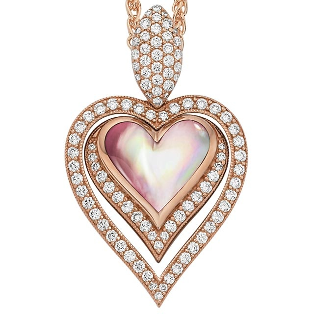 Kabana Pink Mother Of Pearl And Diamond Heart Pendant In