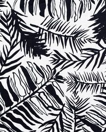 Hutan   Black  Natural  Ethnic, Floral, Prints, Linen, Fabric by Caroline Cecil Textiles