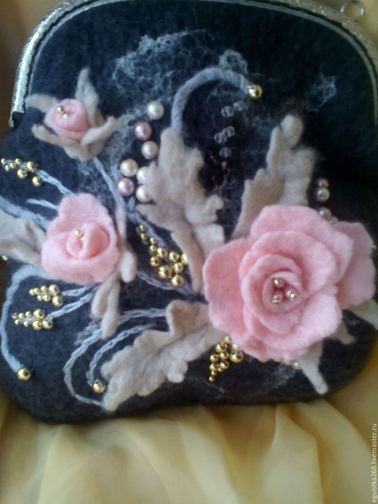 Купить сумка Любимые цветы - серый, цветочный, сумка с розами, сумка женская, сумка валяная