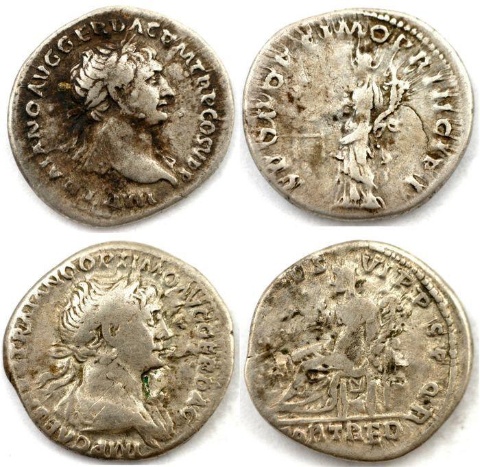 Romeinse imperial - twee AR penning - Trajanus - Aequitas (19 mm 3 06g) & Redux Fortuna (18 mm 3 38g)  Er zijn twee AR denarius uw voorgelegd:1) Trajanus AR Denarius. 103-104 AD.Obv: IMP TRAIANO AVG GER DAC PM TRP COS V P P - laureaat buste juiste lichte gordijnen op verre schouderRS: S P Q R OPTIMO PRINCIPI - Aequitas permanent links schalen en cornucopiae te houden.Referenties: RSC 462 RIC 169Diameter:  18 x 19 mmGewicht: 306 gKleur: zilver2) Trajanus Denarius. Geraakte 114-117 AD.Obv: IMP…