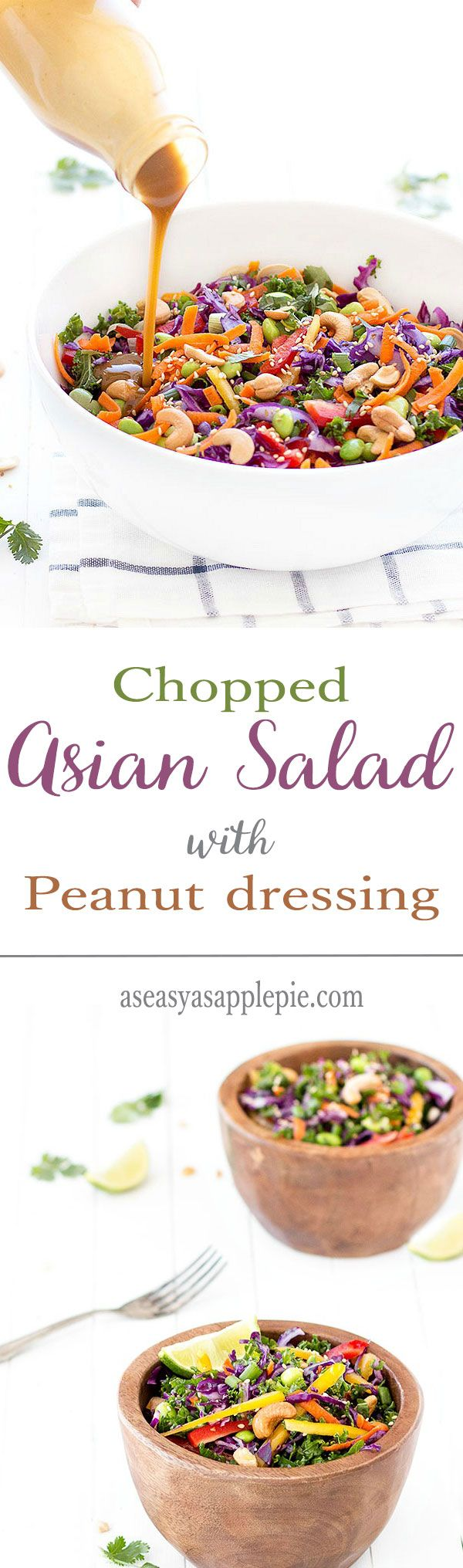 Chopped asian salad with a creamy peanut dressing: full of flavor, texture, color and nutrition! t's a light and healthy salad perfect for lunch or dinner.