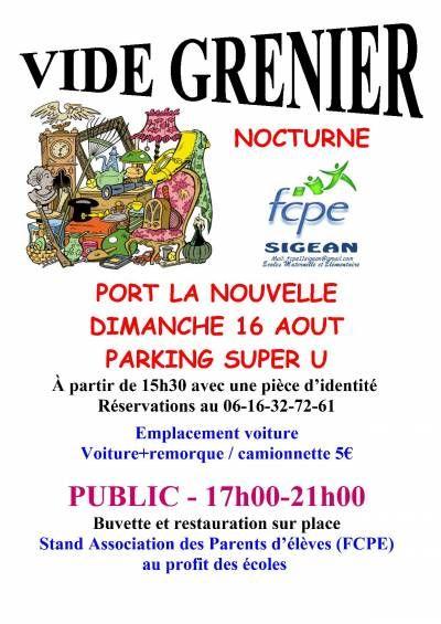 affiche Vide grenier NOCTURNE Port la Nouvelle 16 Août