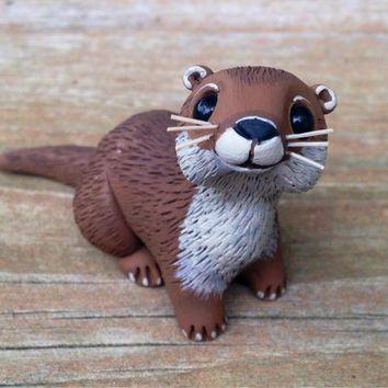 River Otter: Handmade miniature polymer clay animal figure