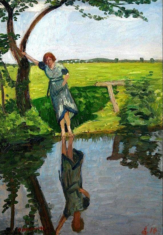 Louise Modersohn-Breling, 1910,Otto Modersohn. Germany (1865 - 1943)