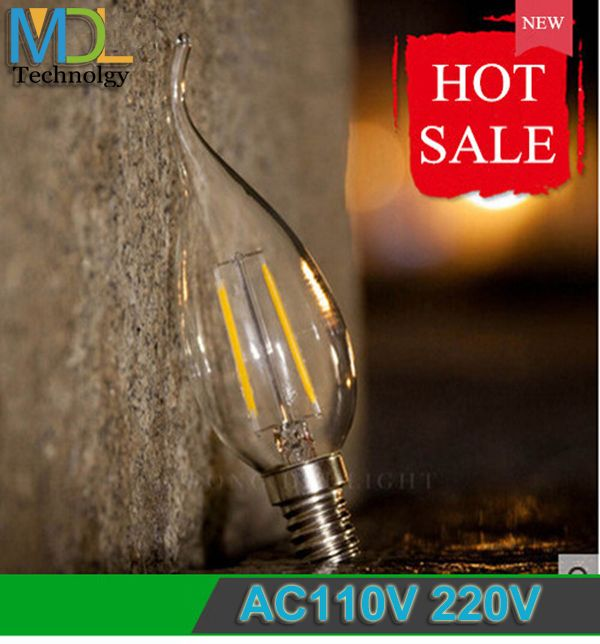 Find More LED Bulbs & Tubes Information about New Edison bulb E14 led candle light Chandelier AC110 220V 2W 4W led filament candle bulb Warm/White Replace Incandescent light,High Quality LED Bulbs & Tubes from Shenzhen MDL Technology Co.,Ltd on Aliexpress.com