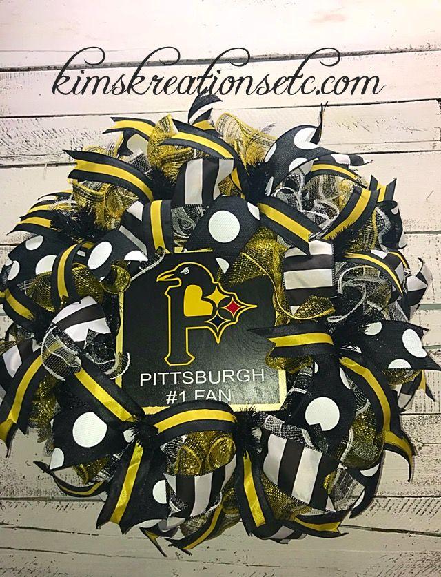 Pittsburgh Team Wreath, Steelers Wreath, Pirates Wreath, Pens Wreath, Pittsburgh Fan Wreath, Team Wreath, Football, Baseball, Hockey, Team Door Wreath, Sports Wreath, Pittsburgh Sports Wreath