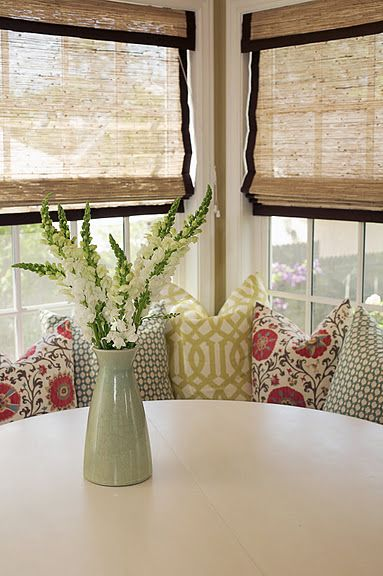Bamboo blinds with fabric banding