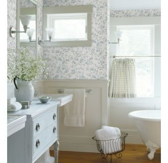 ... Silhouette In Blue And Cream Brings A Simple Beauty To Bathroom Walls    Blue Floral Trail Silhouette   Layla   Bath Bath Bath IV Wallpaper By  Brewster