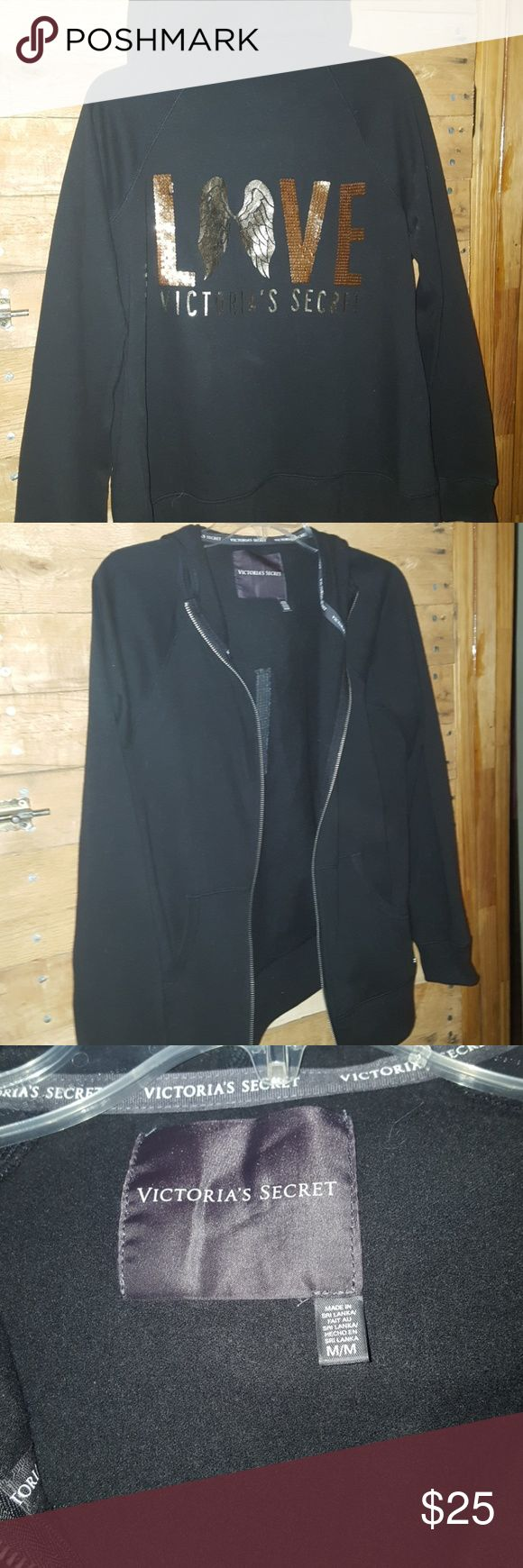 Victora Secret Jacket Black with gold detail on back. Have a Small available Offers will be considered. Victoria's Secret Tops Sweatshirts & Hoodies