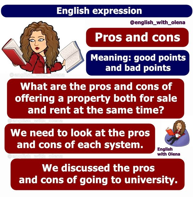 English With Olena English Expression Pros And Cons Expressions English Pro