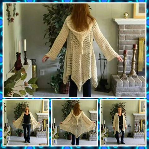 TWO NON-TRADITIONAL CROCHET PATTERNS (patterns work in spaces, not in stitches) for a light-weight cotton hooded gypsy style cardigan.
