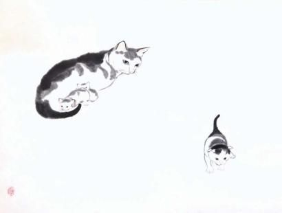 DINA GAO [DEANNA GAO] Maman chat et ses petits. Lavis chinois.