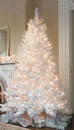 White Christmas Tree, good idea and no ornaments to buy! Tone on tone .