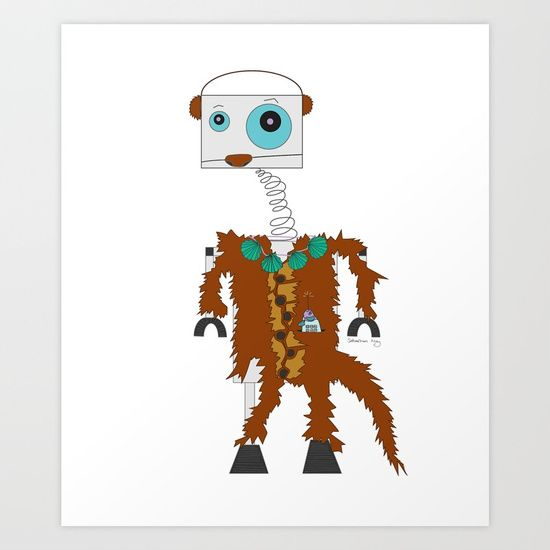 One of my newest illustrations, now available as an art print: RobOtter