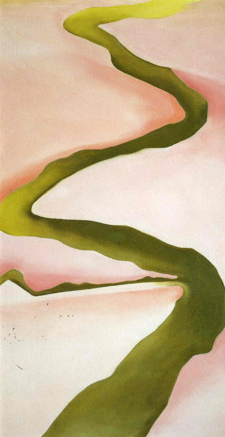 Georgia O'Keeffe  (this looks like the road as seen from her studio window)