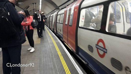 London Underground Northern Line At Euston station, Platform 6 1995 stock train departs to Morden via Bank Filmed on 2nd November 2015