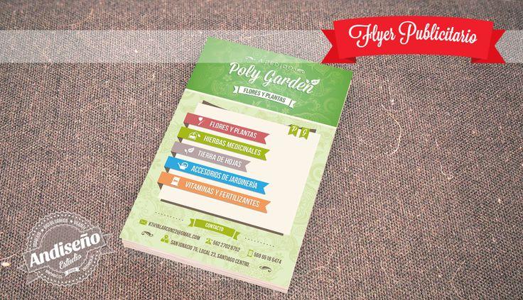 Diseño de flyer publicitario para florería Poly Garden. Consultas al correo info@andiseno.com | www.andiseno.com #Flyer #diseñografico