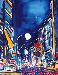 NYC Traffic by Night,Burhan Doğançay