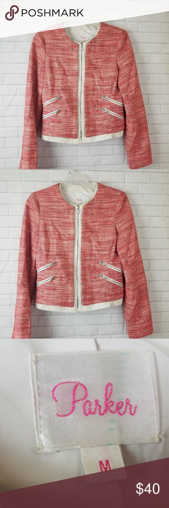 "Parker jacket blazer zip up pink red Medium parker womens jacker blazer zip up with faux trim leather red pink ivory  Armpit to Armpit: 17"" Total Lentgh: 19"" Sleeve: 24"" CL Parker Jackets & Coats Blazers"