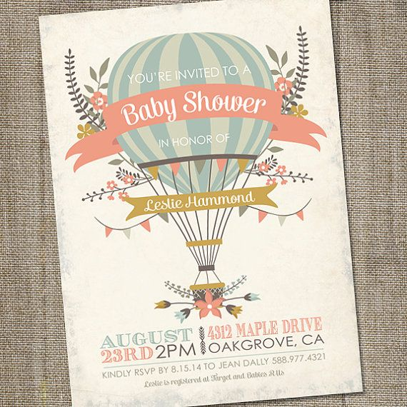 Antique, Hot Air Balloon Invitation, PRINTABLE, Hot Air Balloon Baby Shower, Hot Air Balloon Invite