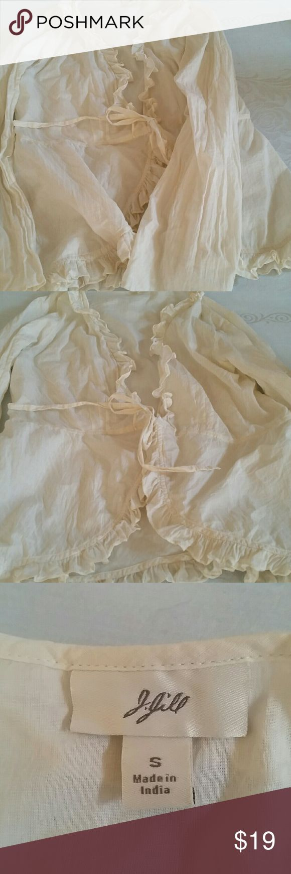 J jill open blouse ties in front mint condition Quality lightweight neutral blouse that is perfect over a tank J Jill Tops Blouses