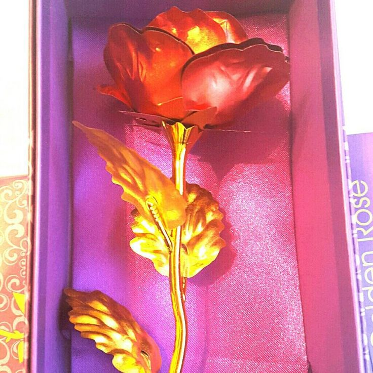 Brand NEW Delicate 24K RED Gold Plated Foil Flower Valentines Rose #Unbranded