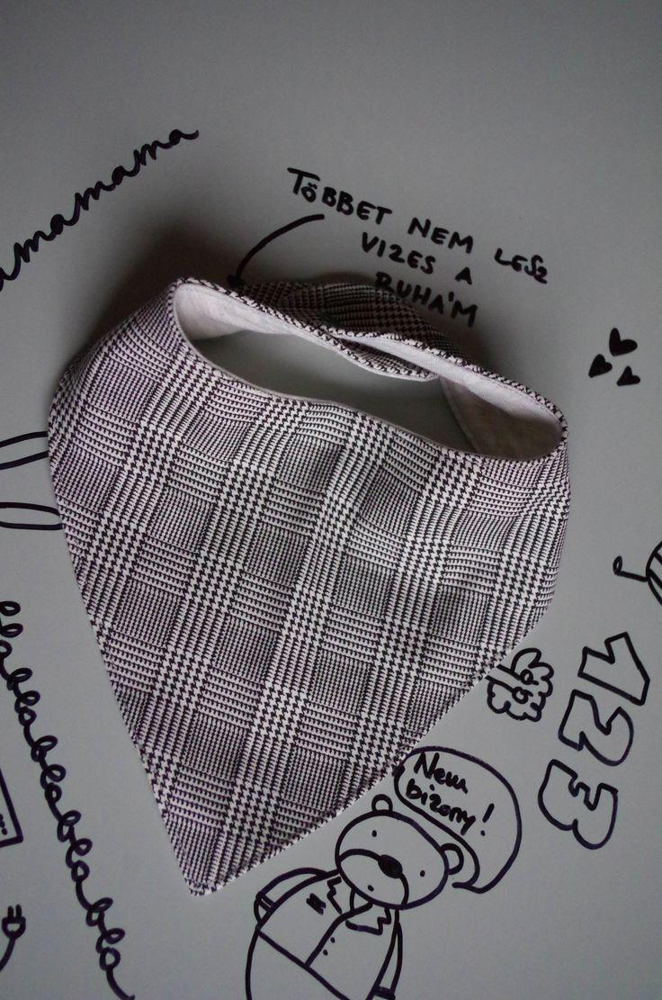 Pepita  Nyálkendő / 12+ hónapos méret / fekete, fehér, kockás, kendő, Baba-mama-gyerek, Ruha, divat, cipő, Gyerekruha, Baba (0-1év), Meska