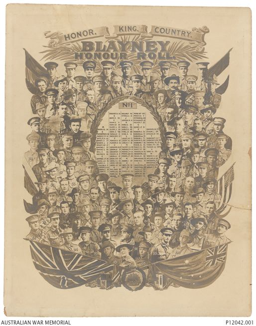 Photographic collage of 103 men from the Blayney locality, NSW, who served during the First World War. 1. Second Lieutenant (2nd Lt) Elwin Charles Cork, Australian Flying Corps;  2. 2288 Private ...