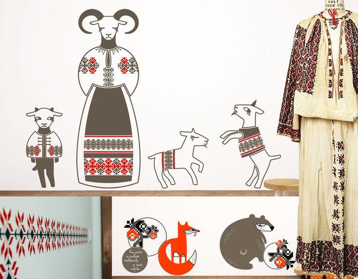 wall stickers Cai verzi pe pereti- late 19th cotton Romanian dress The Met