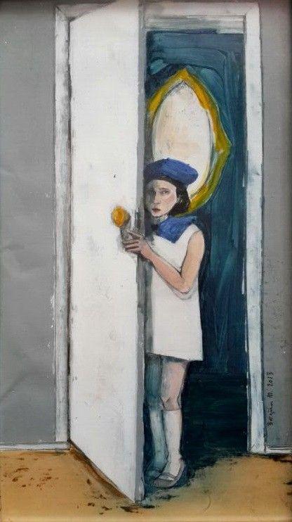 Çocuk Portresi, 2013, Kağıt üzerine yağlıboya, 18x32cm