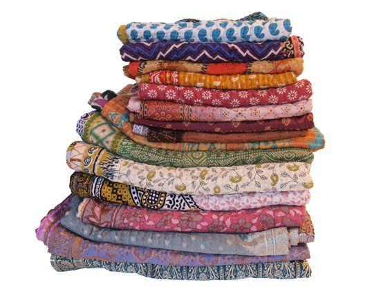 kantha sari dekens & plaids van tulsi crafts