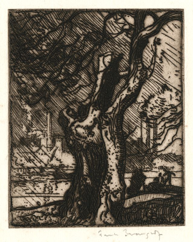 The Old Tree, Hammersmith  Artist  Frank Brangwyn  1867 - 1956   1903    Technique zinc plate etching    Frank Brangwyn was one of the most influential etchers of the twentieth century. He was born in Bruges, Belgium to English parents and was educated in England. He trained at the Royal College of Art and was apprenticeed to William Morris in 1882, when he made his name as an accomplished etcher and lithographer. By 1926 he had completed 331 original etchings. Most of his subjects were figu