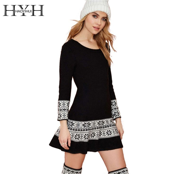 HYH HAOYIHUI Women Winter Knitted Dress Long Sleeve Abstract Pattern Retro Sweater Dress O-Neck Slim A-Line Sweater Dress