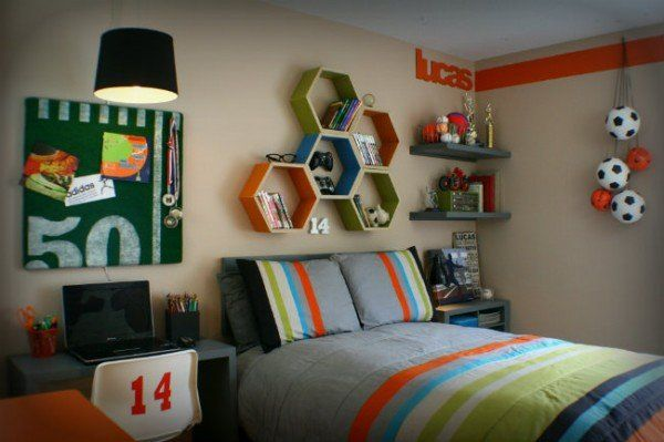 Colorful Sports Bedroom with Honeycomb Shelves