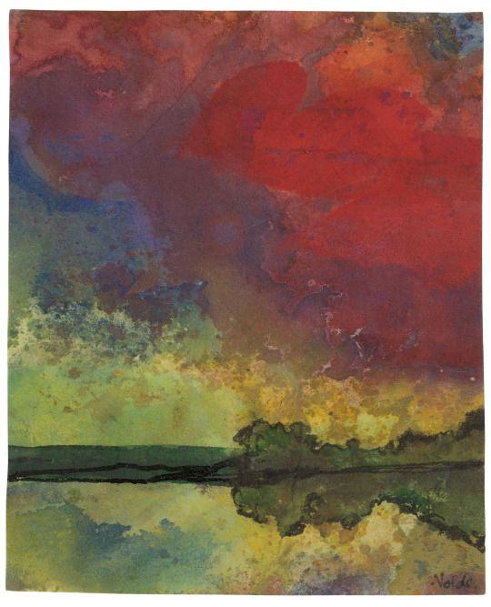 Emil Nolde (German/Danish, 1867-1956), Rote Wolken [Red Clouds], c.1938-45. Watercolour and brush and India ink on Japan paper, 16.5 × 13.5 cm.