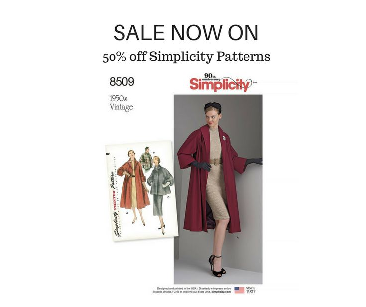 50% off all Simplicity patterns = starts 10th Jan 2018 #simplicity #patterns #sewing #fashion #design #handmade #sewingpatterns #fabric