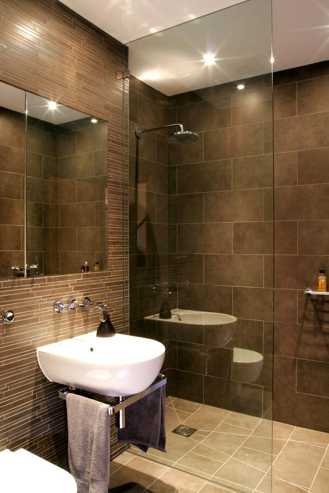 Brown Bathroom Brown Tiles Glass Shower Screen Rainfall Shower Head  Recessed Lights Walk In Shower Wall Mounted Sink Wall Mounted Sink Faucets  Storage With ...