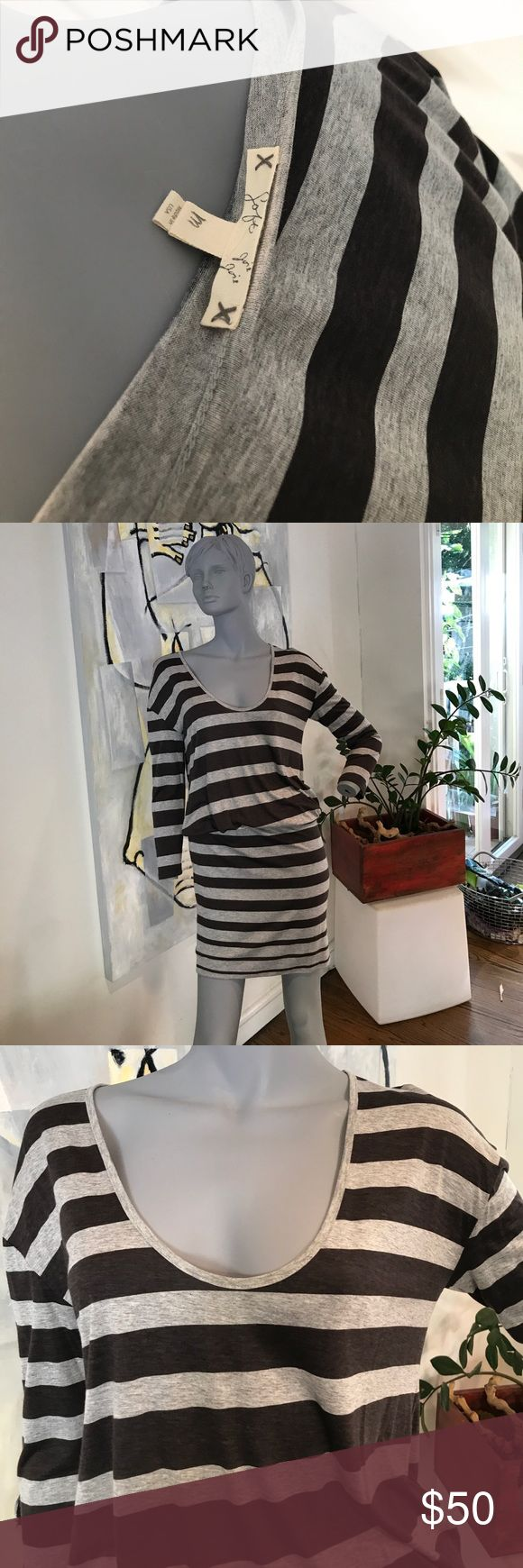 Soft Joie dress never been worn size m Grey and black stripe, 3/4 sleeve dress. Elastic at waist/hip to create blouson effect. Can be mini or a little longer. 100% rayon Soft Joie Dresses Mini