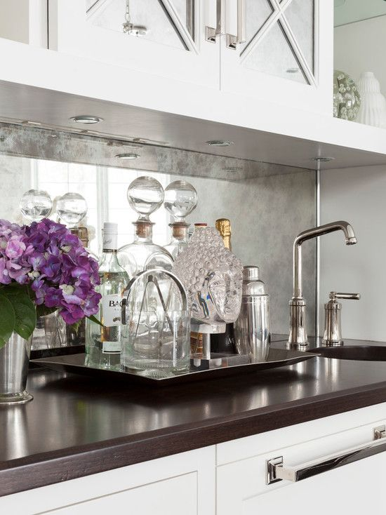 Love The Antiqued Mirrored Backsplash Paired With The Wood Countertop