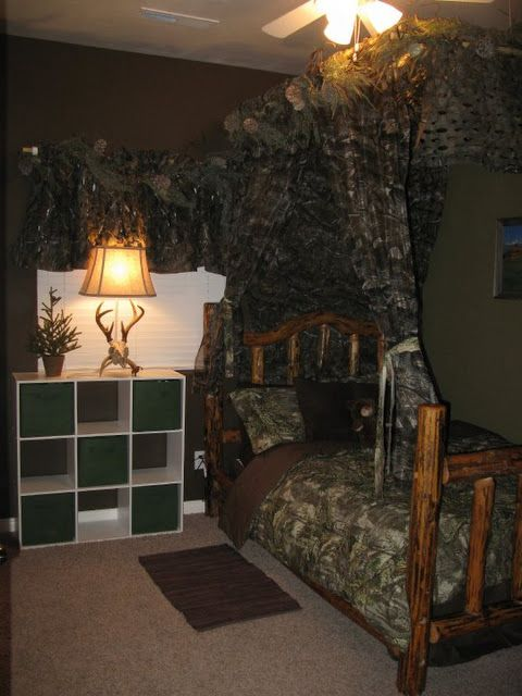 DIY boys hunting themed bedroom-I have a feeling if we have a boy next, I will be forced to do this for his room
