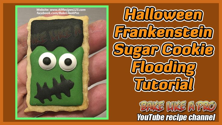 Halloween Frankenstein Sugar Cookie Flooding Tutorial ★► CLICK photo to go directly to my video tutorial