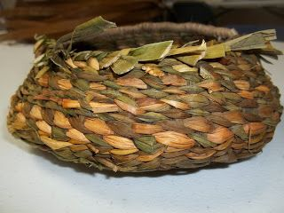 "Little Turtle Basket Weaving and Supply: 8"" Round Cattail basket"