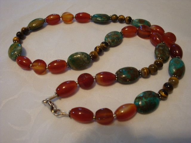 INDIAN TURQUOISE , CARNELIAN AND TIGER EYE NECKLACE  NATURAL TURQOUISE,CARNELIAN ND TIGERS EYE  NECKLACE FROM GEMROCKAUCTIONS.COM