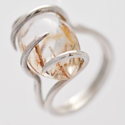 Alex Yule, spiral ring, silver with rutilated quartz